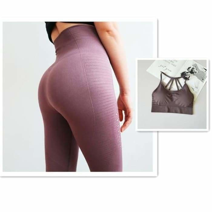 2 Pieces Sports Suit For Women Fitness Seamless Sports Bra High Waist Tummy Control Gym Leggings Hollow Out Yoga Sets - Purple Suit / S -