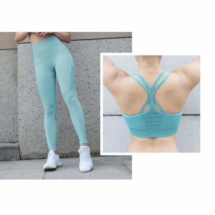 2 Pieces Sports Suit For Women Fitness Seamless Sports Bra High Waist Tummy Control Gym Leggings Hollow Out Yoga Sets - Blue Suit / S -