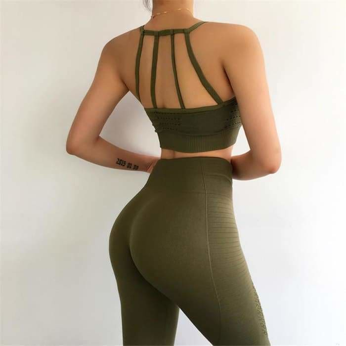2 Pieces Sports Suit For Women Fitness Seamless Sports Bra High Waist Tummy Control Gym Leggings Hollow Out Yoga Sets - activewear