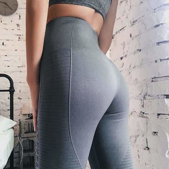 2 Pieces Sports Suit For Women Fitness Seamless Sports Bra High Waist Tummy Control Gym Leggings Hollow Out Yoga Sets - Grey Leggings / S -