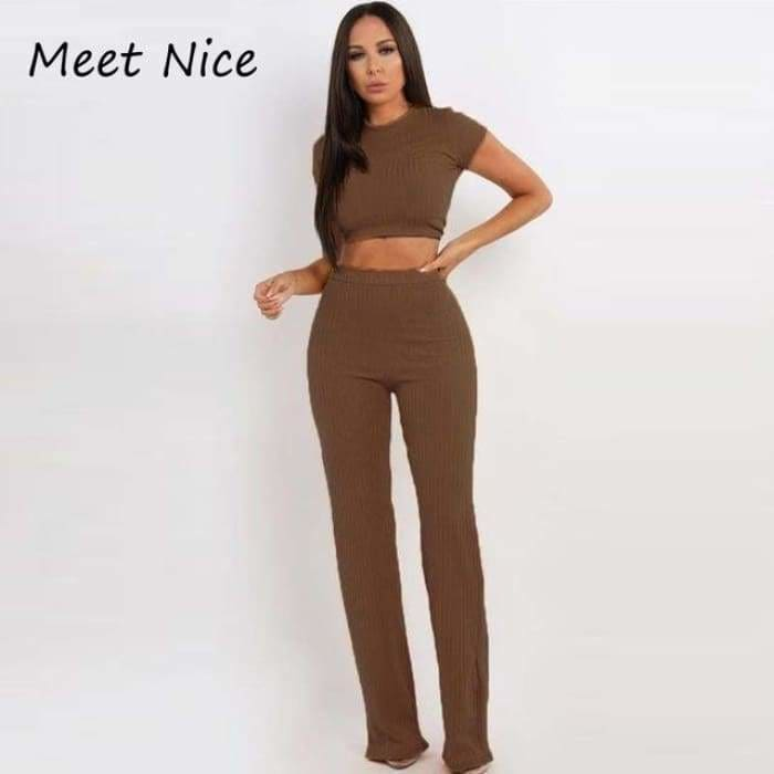 2 Two Piece Set Women Ribbed O Neck Crop Top and Long Pants Set Sexy Autumn Short Sleeve Tracksuit Women Conjunto Feminino 2019 - Coffee /