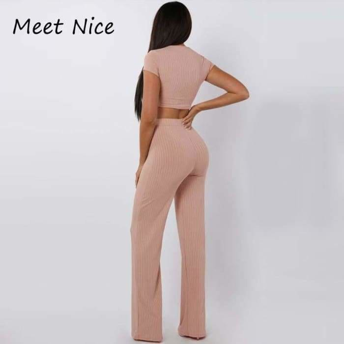 2 Two Piece Set Women Ribbed O Neck Crop Top and Long Pants Set Sexy Autumn Short Sleeve Tracksuit Women Conjunto Feminino 2019 - rompers