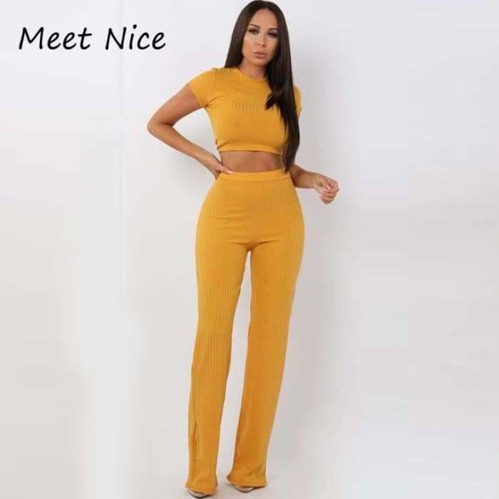 2 Two Piece Set Women Ribbed O Neck Crop Top and Long Pants Set Sexy Autumn Short Sleeve Tracksuit Women Conjunto Feminino 2019 - Yellow /