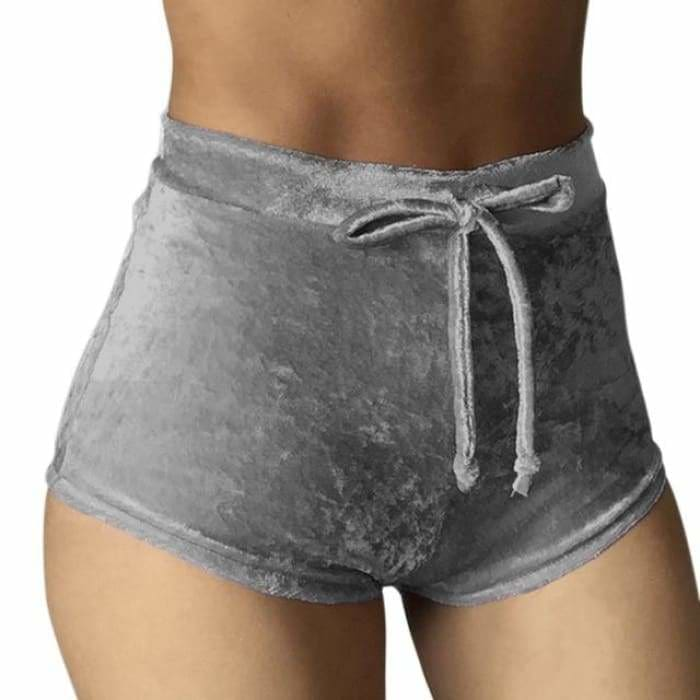 2017 Women Velvet Drawstring Shorts Casual High Waist Spring Summer Sexy Skinny Short Pants FS99 - Gray / S - Womens Shorts