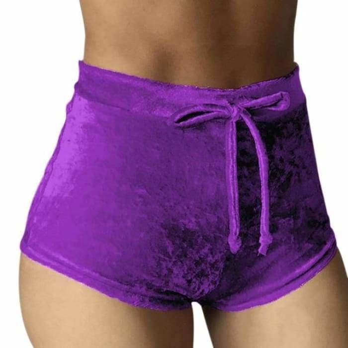 2017 Women Velvet Drawstring Shorts Casual High Waist Spring Summer Sexy Skinny Short Pants FS99 - Purple / S - Womens Shorts