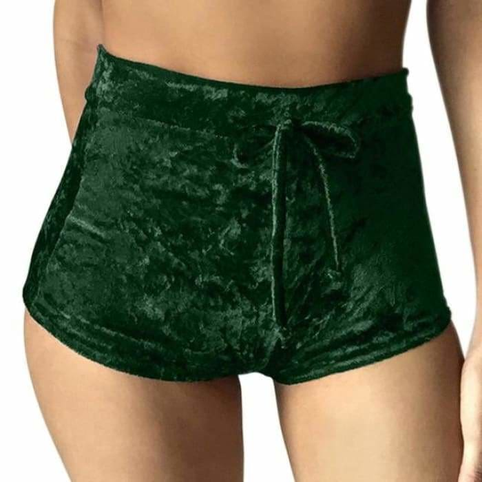 2017 Women Velvet Drawstring Shorts Casual High Waist Spring Summer Sexy Skinny Short Pants FS99 - Green / S - Womens Shorts