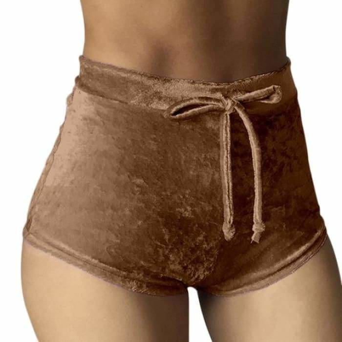 2017 Women Velvet Drawstring Shorts Casual High Waist Spring Summer Sexy Skinny Short Pants FS99 - Brown / S - Womens Shorts