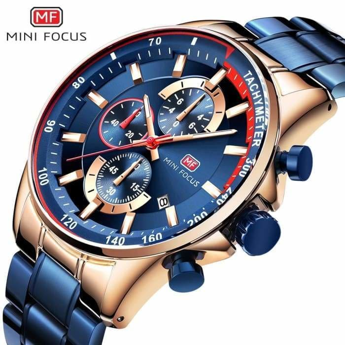 2019 Fashion Blue Watch Men Quartz Clock Metal Strap Multi function Calendar Sports Men's Watches Luxury - Bibra.Store