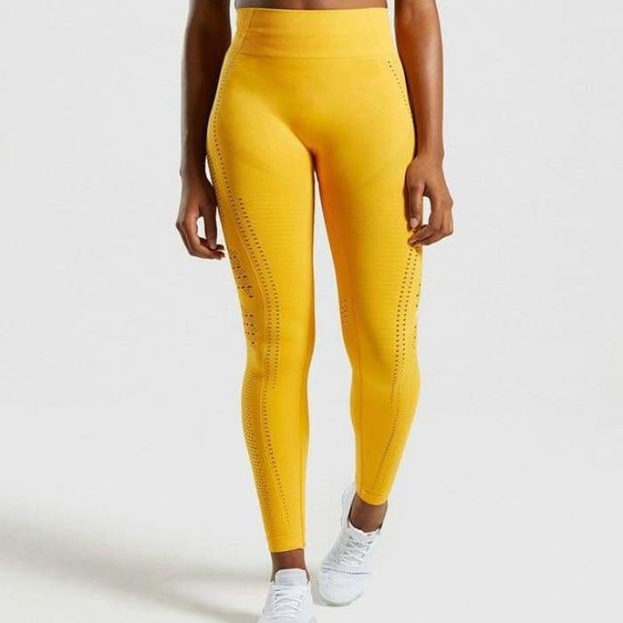 2019 High Waist Women Eyelet Flawless Knit Tights Seamless Yoga Leggings Tummy Control Fitness Gym Leggings Sports Workout Pants - Yellow /