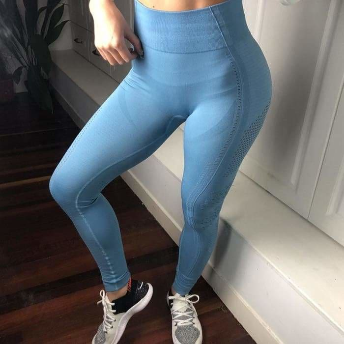 2019 High Waist Women Eyelet Flawless Knit Tights Seamless Yoga Leggings Tummy Control Fitness Gym Leggings Sports Workout Pants -