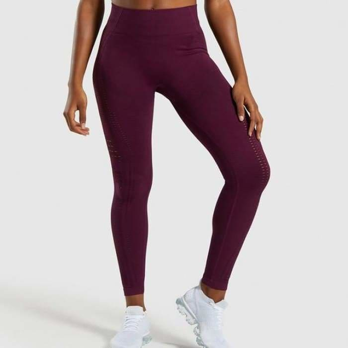 2019 High Waist Women Eyelet Flawless Knit Tights Seamless Yoga Leggings Tummy Control Fitness Gym Leggings Sports Workout Pants - Purple /