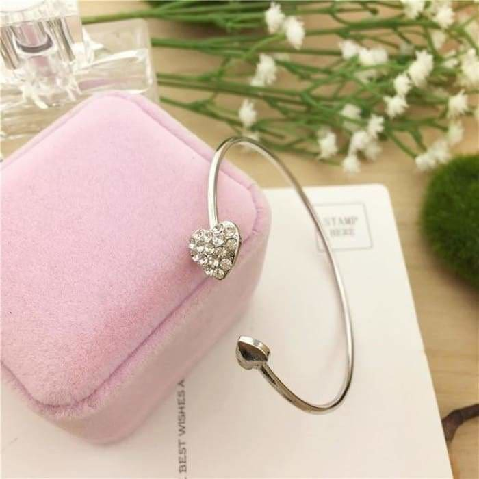 2019 Hot New Fashion Adjustable Crystal Double Heart Bow Bilezik Cuff Opening Bracelet For Women - Bibra.Store