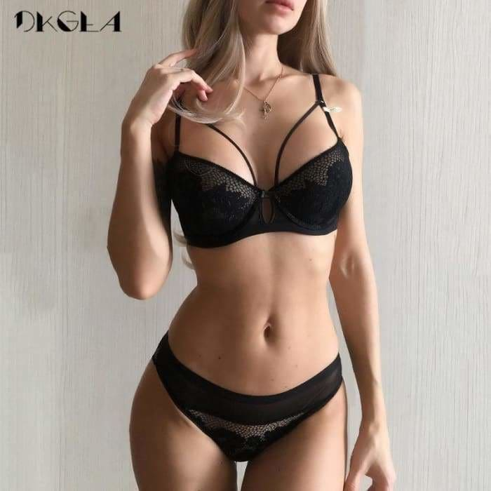 2019 New Bandage Green Lace Bra Set Women Lingerie Embroidery Thick Push Up Brassiere Cotton Underwear Set - Bibra.Store