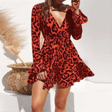 2019 Summer Chiffon Dress Women Leopard Print Boho Beach Dress long Sleeve A-line Mini Party Dress - Bibra.Store