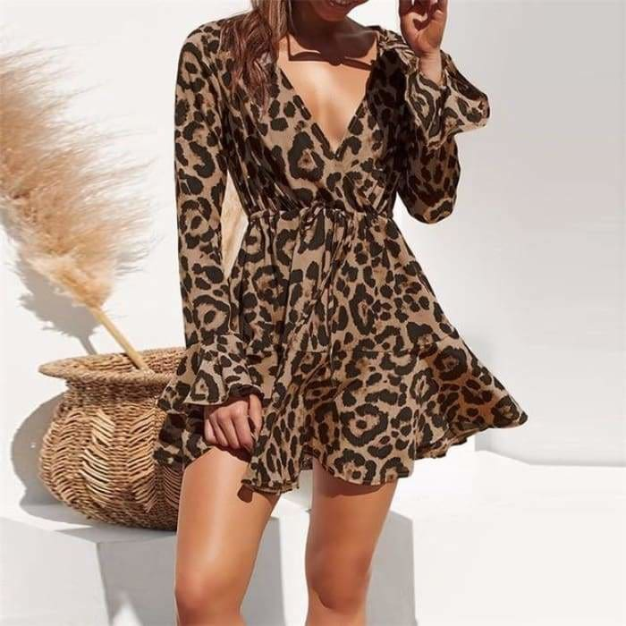 2019 Summer Chiffon Dress Women Leopard Print Boho Beach Dress long Sleeve A-line Mini Party Dress - Brown / L - dress