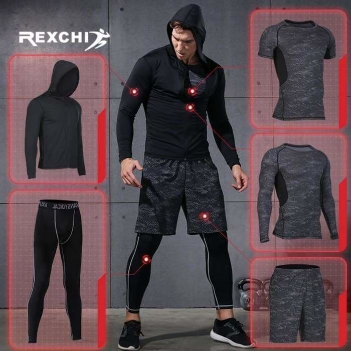 5 Pcs/Set Men's Tracksuit Sports Suit Gym Fitness Compression Clothes - Bibra.Store