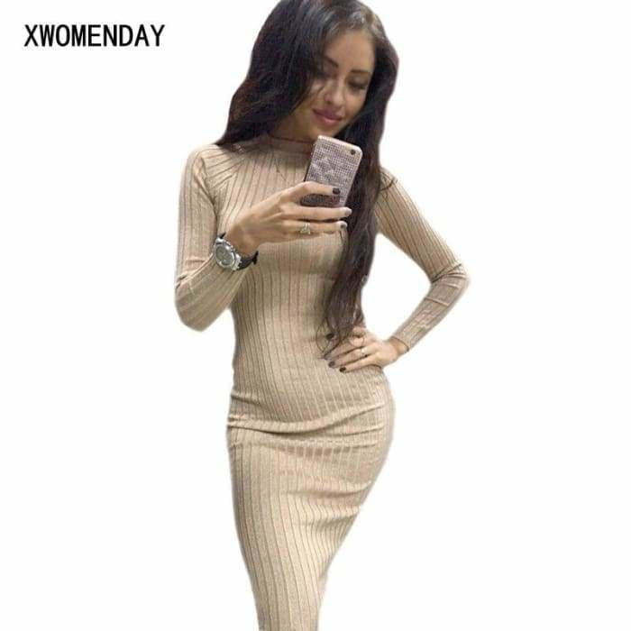 Autumn Women Bodycon Sheath Dress Sexy Red Knitted Cotton Long Sleeve 2019 Pure Casual Black Midi Dress - dress