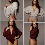 Deep V-Neck Patchwork Sexy Bodysuit Women Fashion Long Sleeve Loose Women Rompers - Bibra.Store