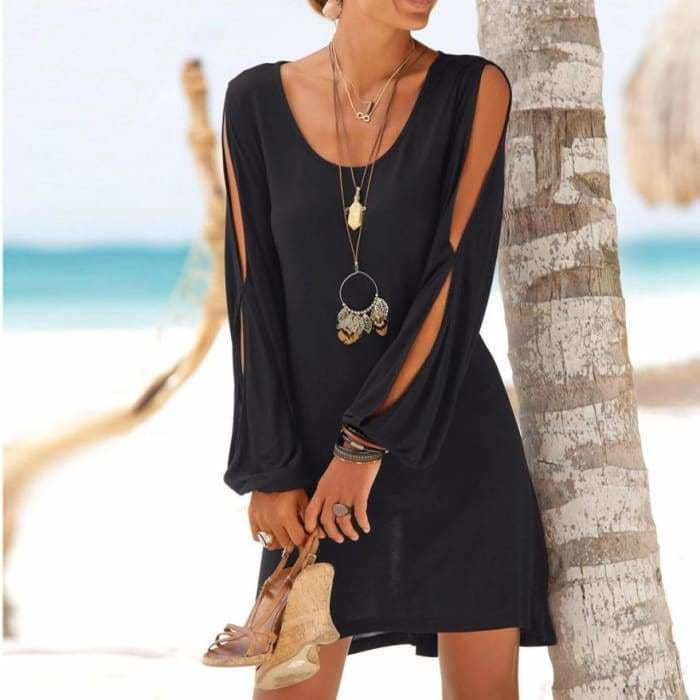 Dress Fashion Women Casual O-Neck Hollow Out Sleeve Straight Dress Solid Beach Style Mini dress women - dress