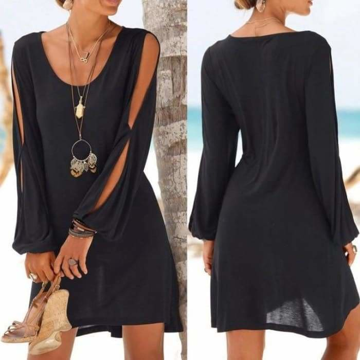 Dress Fashion Women Casual O-Neck Hollow Out Sleeve Straight Dress Solid Beach Style Mini dress women - Black / L / China - dress