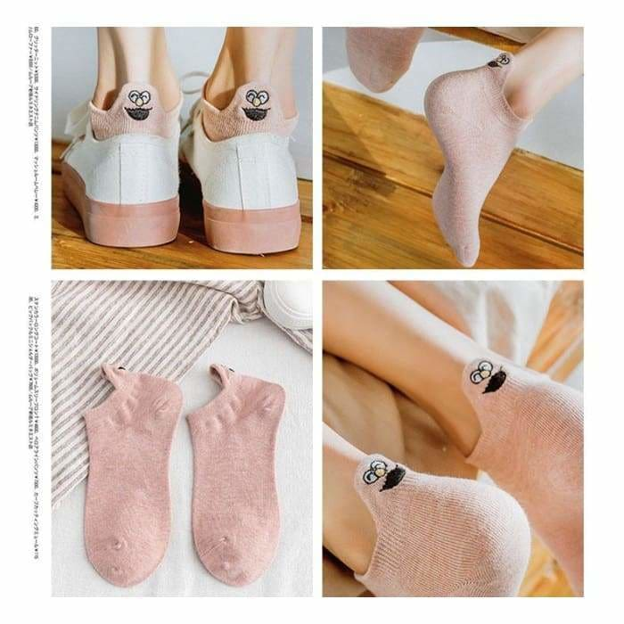 Embroidered Expression Women Socks Happy Fashion Ankle Funny Socks Women Cotton Summer 1 Pair Candy Color - Bibra.Store