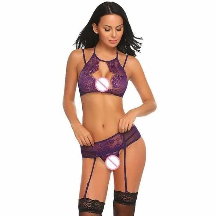 Erotic Underwear Sex Lingerie Set Women Lace Bralette Bra with G-string And Garter Lingerie Set Porno Wear Clothes - Bibra.Store