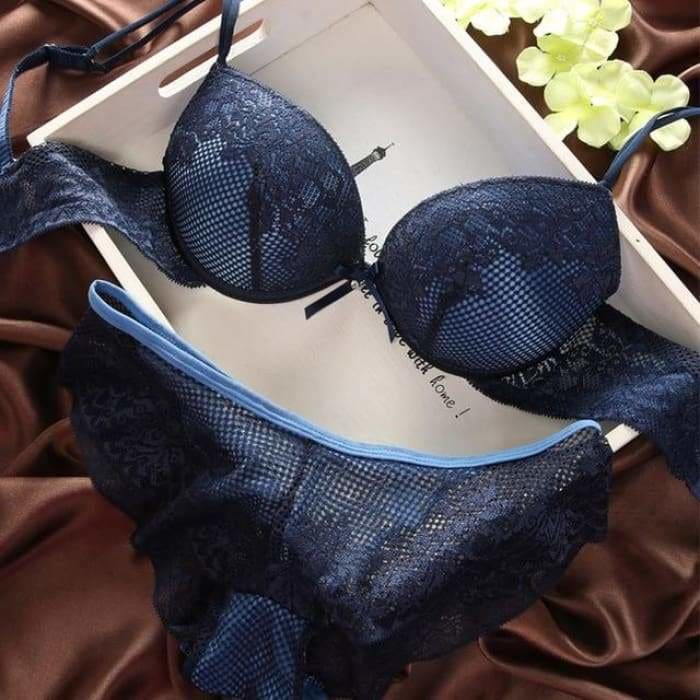 Fashion fashion lace sexy thin deep V-neck push up underwear hot-selling vintage solid color bra set - blue / 70B - Bra