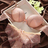 Fashion fashion lace sexy thin deep V-neck push up underwear hot-selling vintage solid color bra set - skin / 70B - Bra