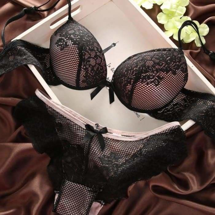 Fashion fashion lace sexy thin deep V-neck push up underwear hot-selling vintage solid color bra set - black / 70B - Bra