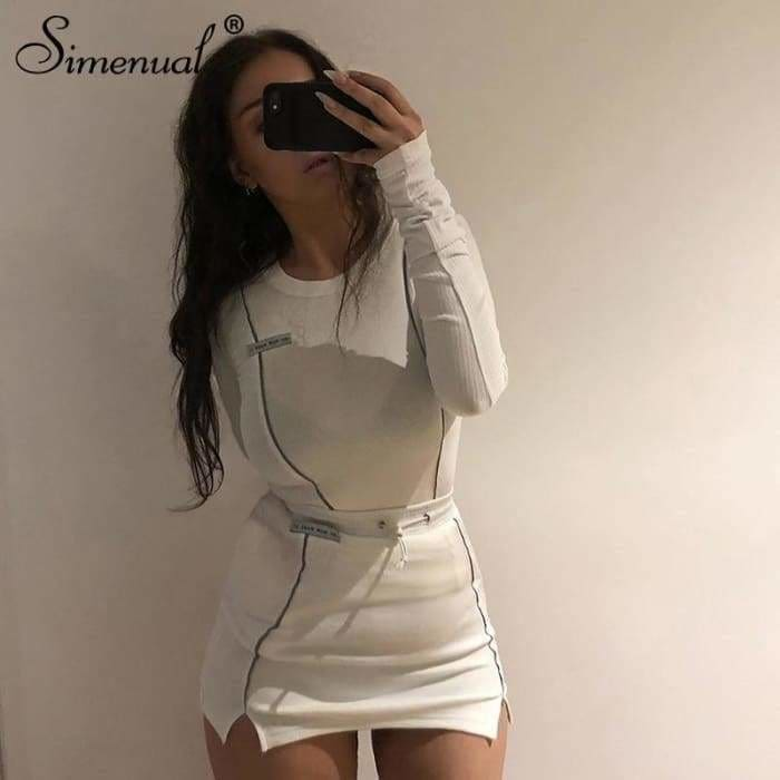 Fashionable Reflective Striped Two Piece Outfits Women Long Sleeve Top And Mini Skirt Sets - Bibra.Store