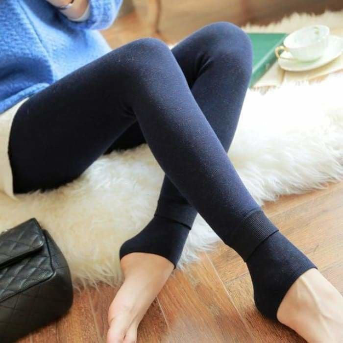 Feilibin Winter Women Leggings Thick Winter Warm Pants High Waist Slimming Thicken High Elastic Womens Warm Velvet Leggings - Navy blue -