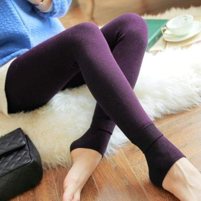 Feilibin Winter Women Leggings Thick Winter Warm Pants High Waist Slimming Thicken High Elastic Women's Warm Velvet Leggings - Bibra.Store
