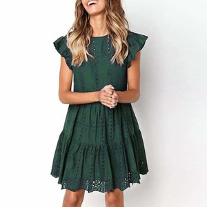 Hollow Out Ruched A-Line mini dress woman Ruffles Sleeve basic O-Neck summer beach dress - dress
