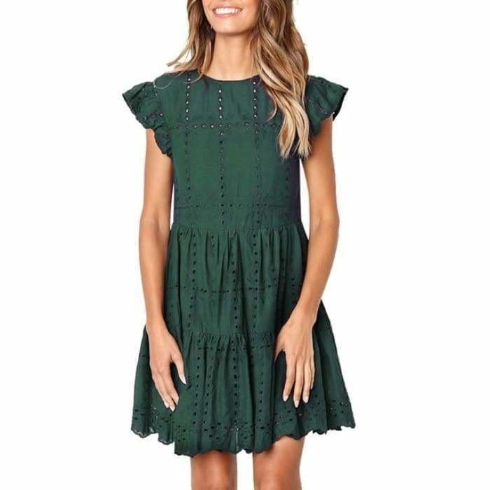 Hollow Out Ruched A-Line mini dress woman Ruffles Sleeve basic O-Neck summer beach dress - Green / S / China - dress