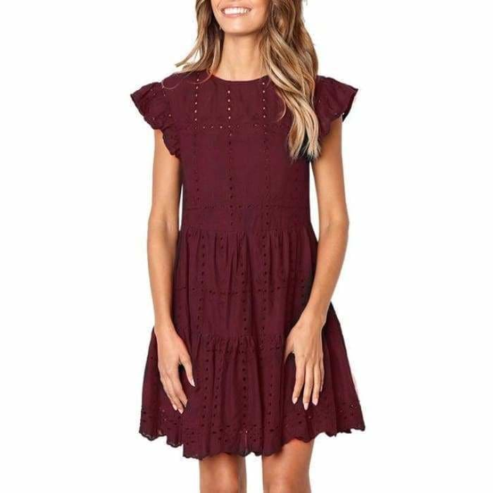 Hollow Out Ruched A-Line mini dress woman Ruffles Sleeve basic O-Neck summer beach dress - Burgundy / S / China - dress