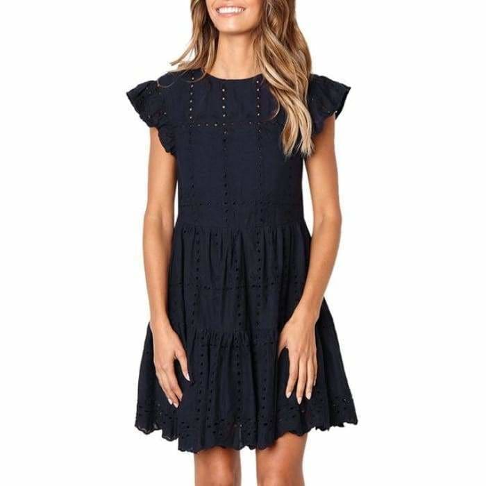 Hollow Out Ruched A-Line mini dress woman Ruffles Sleeve basic O-Neck summer beach dress - Navy / S / China - dress