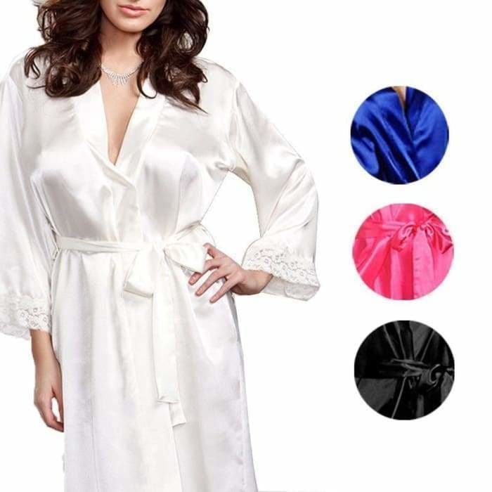 Hot Women Lady Nice lingerie Sleepwear Robes Nightwear Nightdress+G-String Dress - Warm white - lingerie