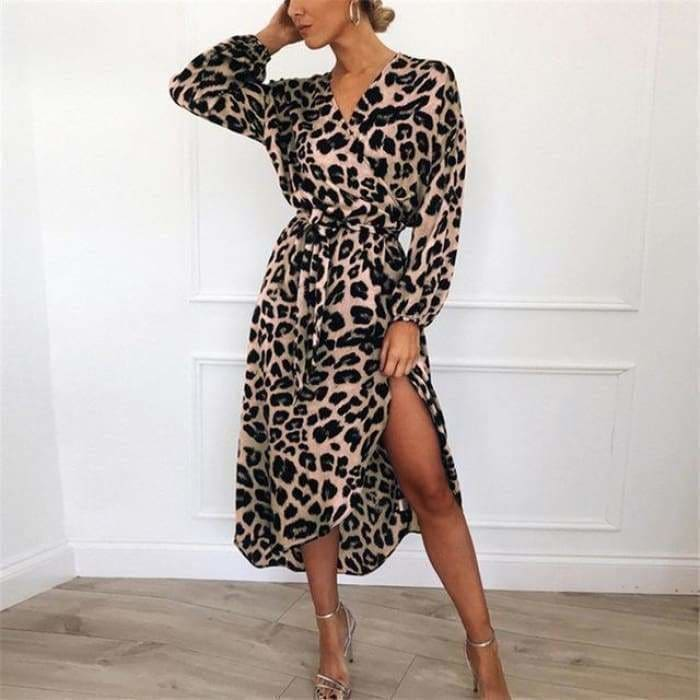 Leopard Dress 2019 Women Chiffon Long Beach Dress Loose Long Sleeve Deep V-neck A-line Sexy Party Dress - Pink / L - dress