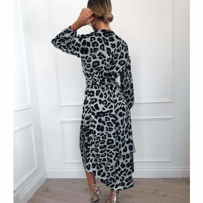 Leopard Dress 2019 Women Chiffon Long Beach Dress Loose Long Sleeve Deep V-neck A-line Sexy Party Dress - dress