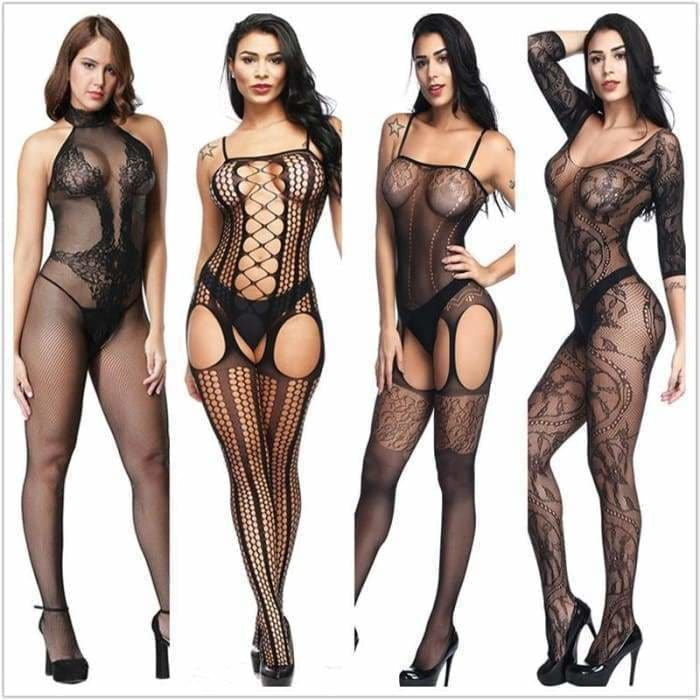 Lingerie Teddies Bodysuits hot Erotic lingerie open crotch elasticity mesh body stockings hot  sexy underwear costumes - Bibra.Store