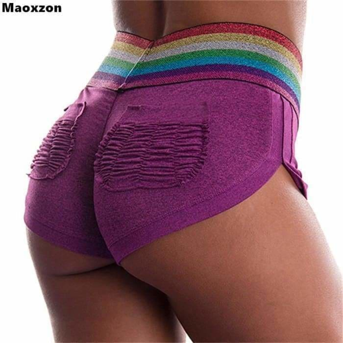 Maoxzon Womens Sexy Club Fitness Workout Skinny Shorts For Girls Hot Summer Contrast Color Pocket Slim Bodycon Short Trousers - Womens
