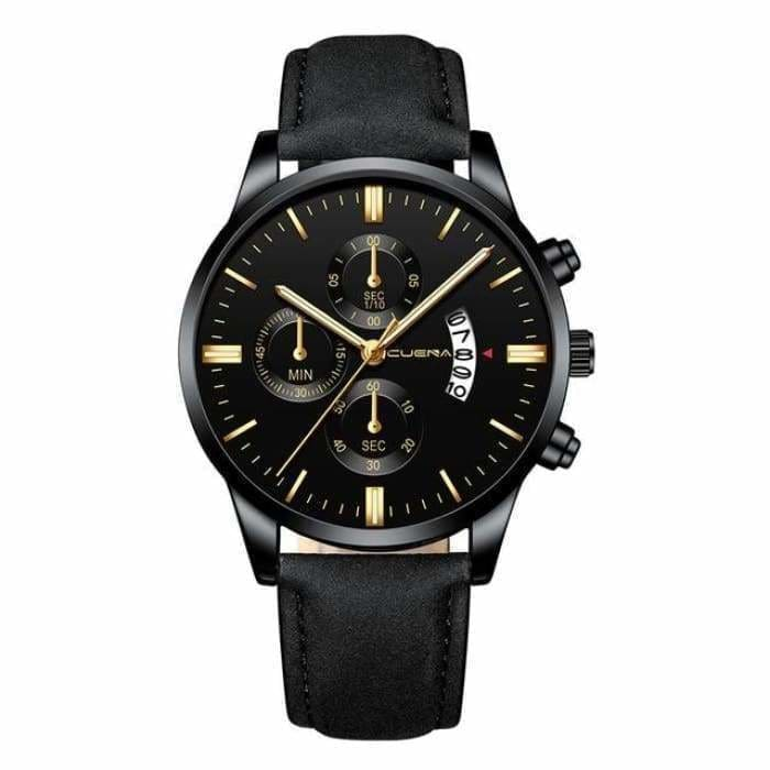 Men Fashion watches Sport Stainless Steel Case Leather Band watch Quartz Business Wristwatch - Bibra.Store