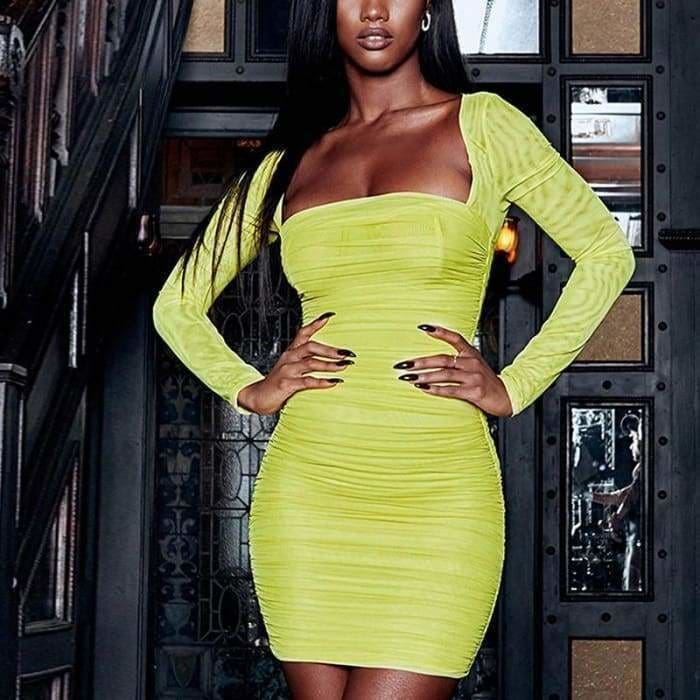 Neon Yellow Mesh Bodycon Dress Women Square Neck Ruched Mini Bandage Sexy Dress - dress