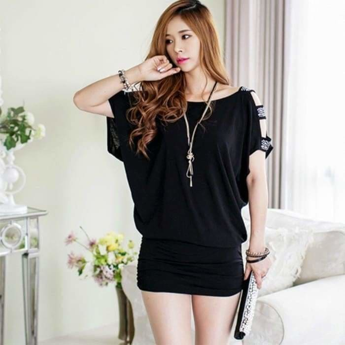New Arrival Fashion Elegance Womens Party Short Sleeve Korean Style Strapless Loose Slim Sexy Hip Mini Dress 3 Colors