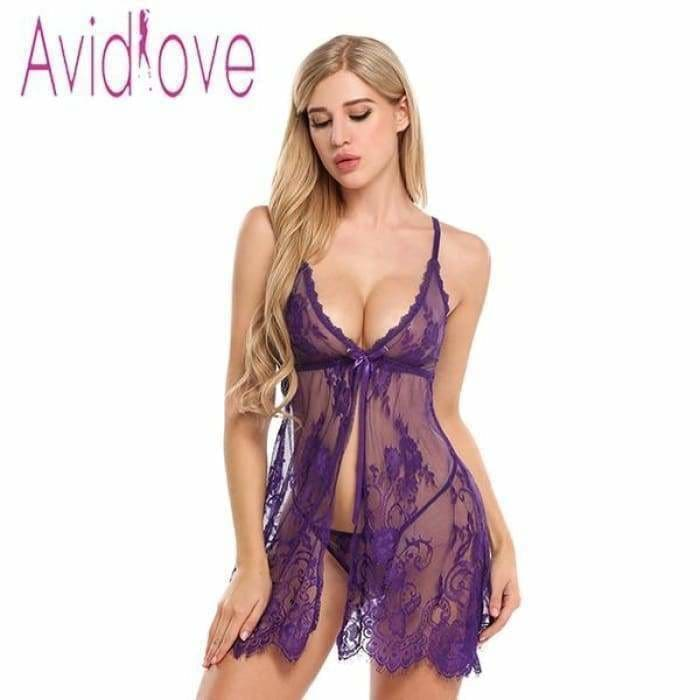 New Arrival Sexy Lace Nightwear Erotic Lingerie Sleepwear Women Summer Sleep Dress Halter Backless Babydoll Dress - Bibra.Store