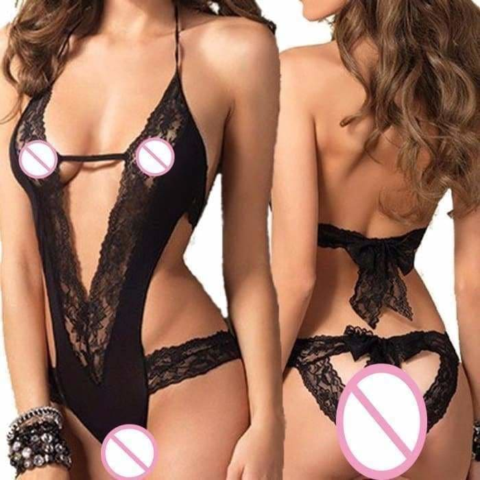 New Sexy Lingerie Hot Black Lace Spliced Erotic Lingerie Costumes Temptation Transparent Sleepwear - lingerie
