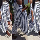 New Women Loose Long Dress Striped Batwing Sleeve Off-shoulder Split Asymmetric Casual Maxi Plus Size Dress White/Black (Plus S
