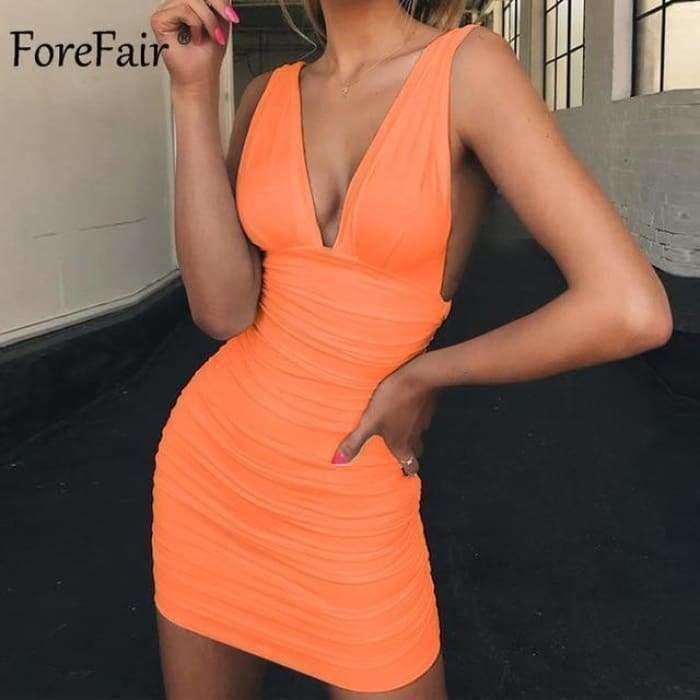 Off Shoulder Sexy Mini Bandage Dress Women Red Black Backless Ruched Wrap Bodycon Party Club Dress Vestido Summer - Orange pink / S - dress