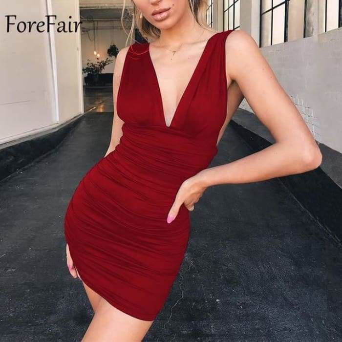 Off Shoulder Sexy Mini Bandage Dress Women Red Black Backless Ruched Wrap Bodycon Party Club Dress Vestido Summer - Burgundy / S - dress