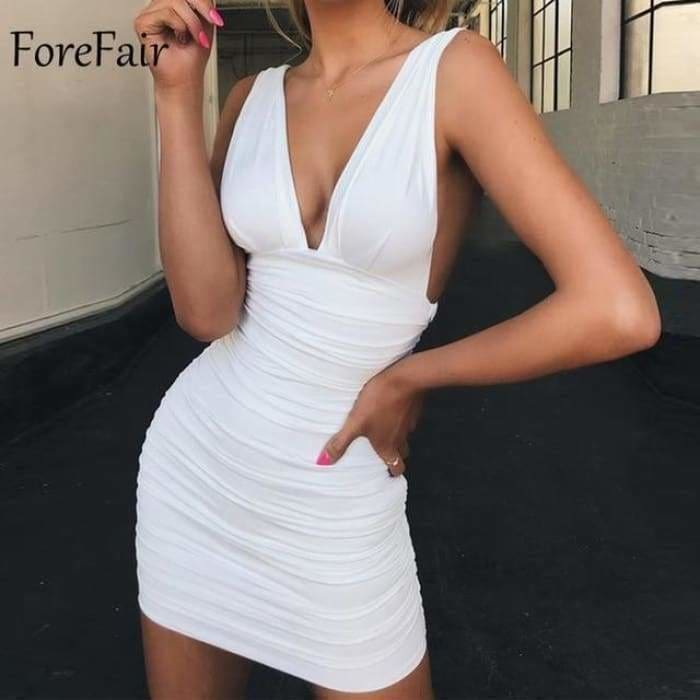 Off Shoulder Sexy Mini Bandage Dress Women Red Black Backless Ruched Wrap Bodycon Party Club Dress Vestido Summer - White / S - dress